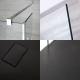 Conjunto con Mampara de Ducha de Obra de 1400x900mm con Hojas de Vidrio Flotante y Plato de Ducha Antracita - Portland