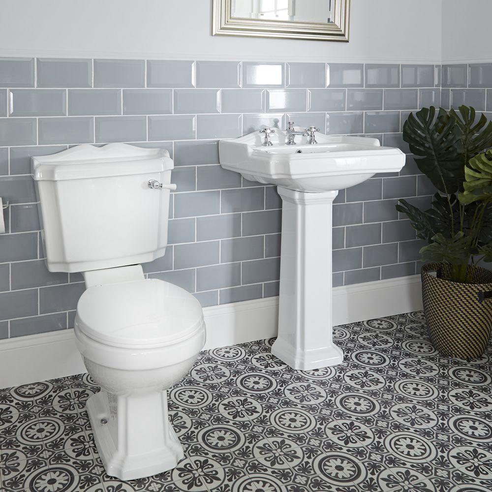 Conjunto de Baño Clásico con Inodoro WC, Cisterna, Lavabo ...