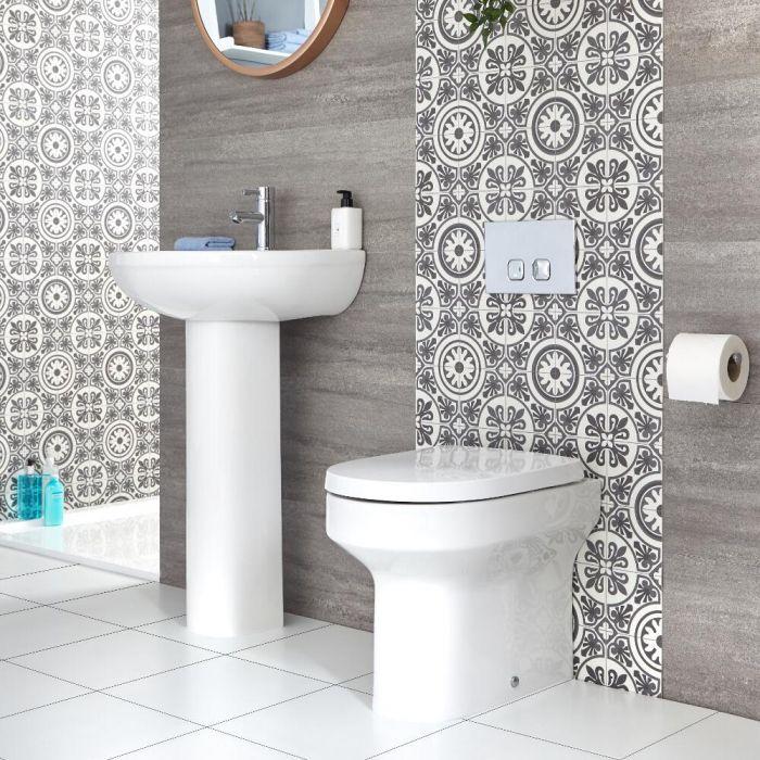 Conjunto para Baño Moderno Completo con Lavabo con Pedestal e Inodoro Adosado -  Covelly