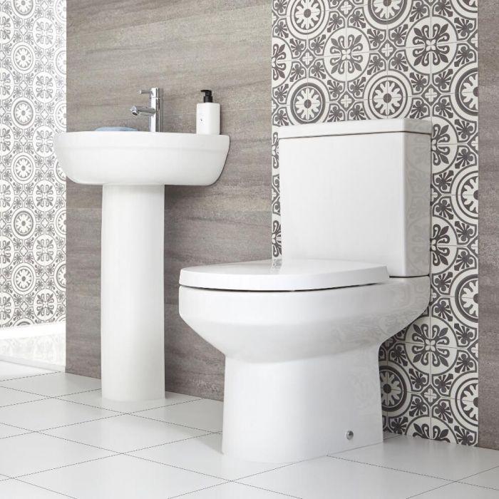 Conjunto para Baño Completo con Inodoro Adosado y Lavabo con Pedestal -  Covelly
