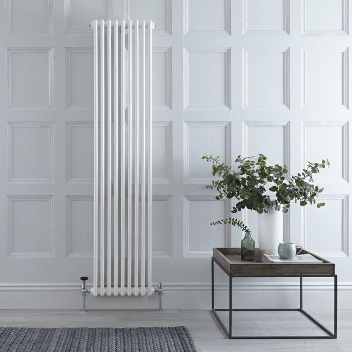 Radiador Tradicional en Estilo Hierro Fundido - Vertical - Blanco - 1800mm x 444mm (Columnas Dobles) - Stelrad Regal por Hudson Reed