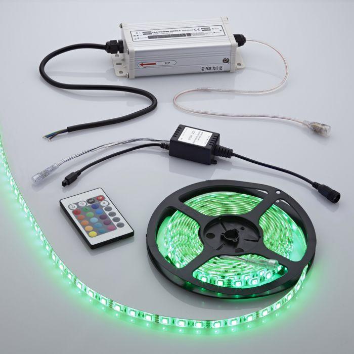 Tira de Luces LED de 5 Metros de Alimentación Eléctrica y Mando de Control