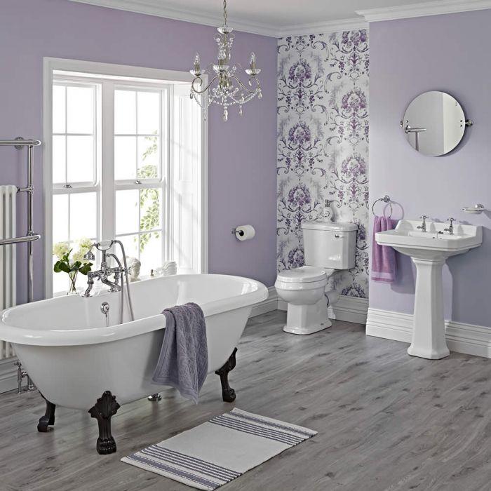 Conjunto de Baño Tradicional Completo con Lavabo, Grifería, WC con Cisterna, Tapa Blanca para el WC y Bañera -  Carlton