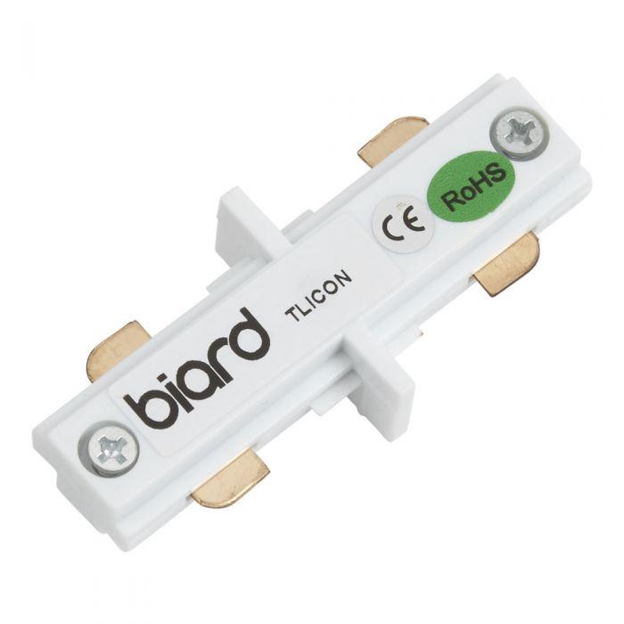 Biard Unión Conector Recto para Focos de Carril LED - Blanco