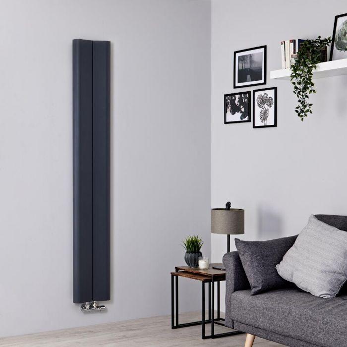 Radiador de Diseño Vertical - Aluminio - Antracita - 1600mm x 245mm - 579 Vatios - Aloa