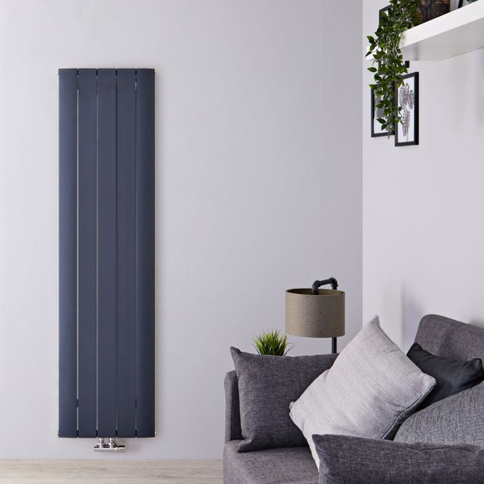 Radiador de Diseño Vertical Con Conexión Central - Aluminio - Antracita - 1600mm x 470mm x 46mm - 1533 Vatios - Aurora