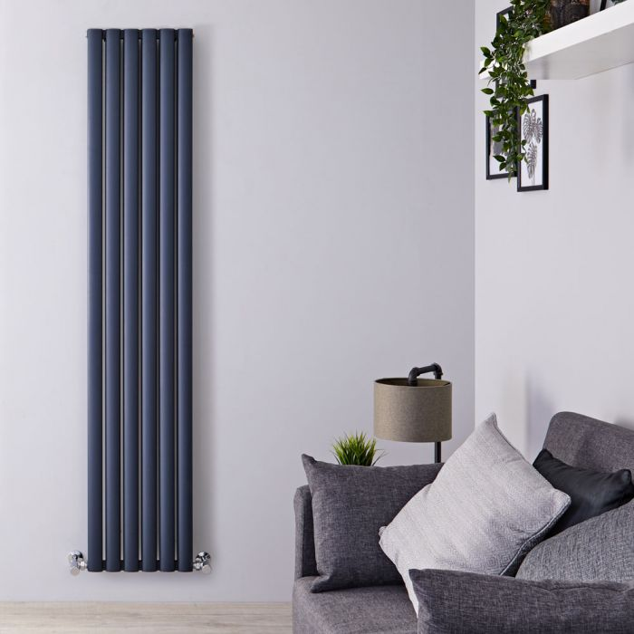 Radiador de Diseño Vertical Doble - Antracita - 1800mm x 350mm x 76mm - 1502 Vatios - Revive Air
