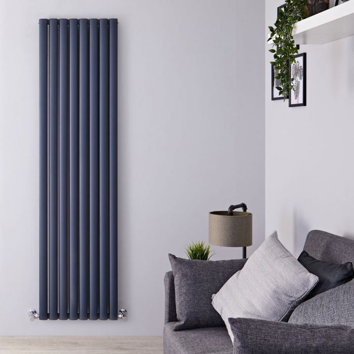 Radiador de Diseño Vertical Doble - Antracita - 1800mm x 470mm x 76mm - 2004 Vatios - Revive Air