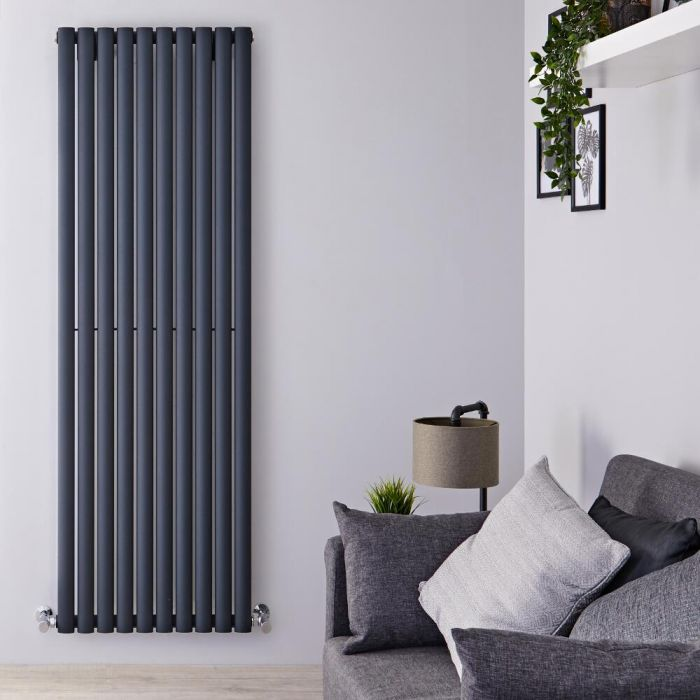 Radiador de Diseño Vertical Doble - Antracita - 1800mm x 590mm x 76mm - 2506 Vatios - Revive Air