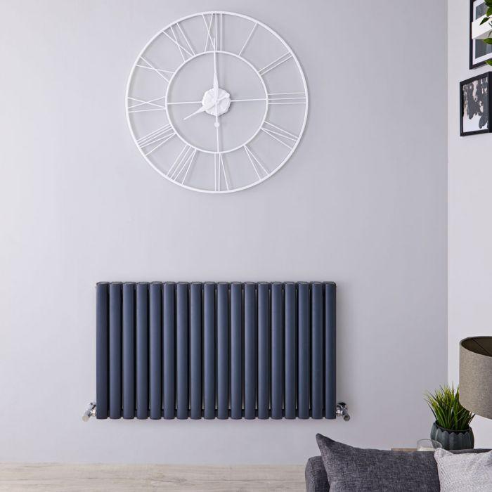 Radiador de Diseño Horizontal Doble - Antracita - 600mm x 1070mm - 2067 Vatios - Revive Air