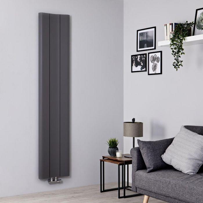 Radiador de Diseño Vertical - Aluminio - Gris Claro - 1800mm x 370mm - 978 Vatios – Aloa