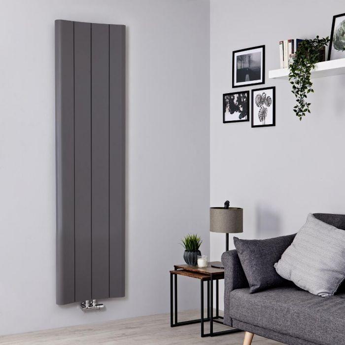 Radiador de Diseño Vertical - Aluminio - Gris Claro - 1800mm x 495mm - 1201 Vatios - Aloa