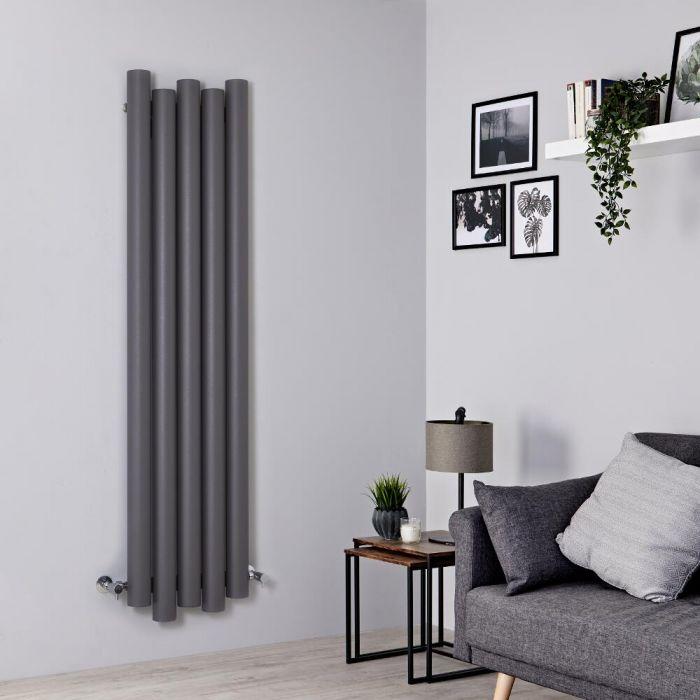 Radiador de Diseño Vertical - Aluminio - Gris Claro - 1600mm x 390mm - 1035 Vatios - Laeto
