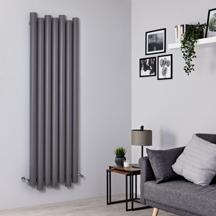 Radiador de Diseño Vertical - Aluminio - Gris Claro - 1800mm x 550mm - 1638 Vatios - Laeto