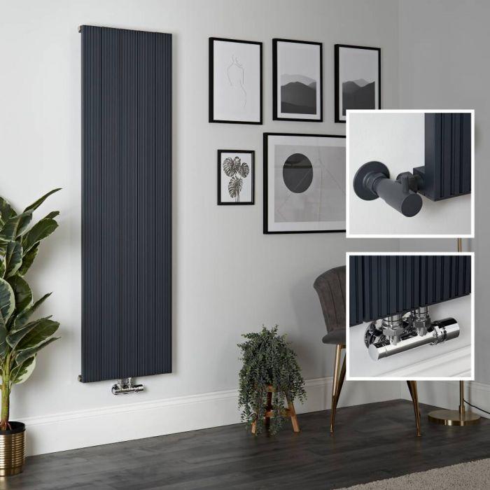 Radiador de Diseño Vertical en Aluminio de Color Antracita - 1600mm x 470mm - Lex