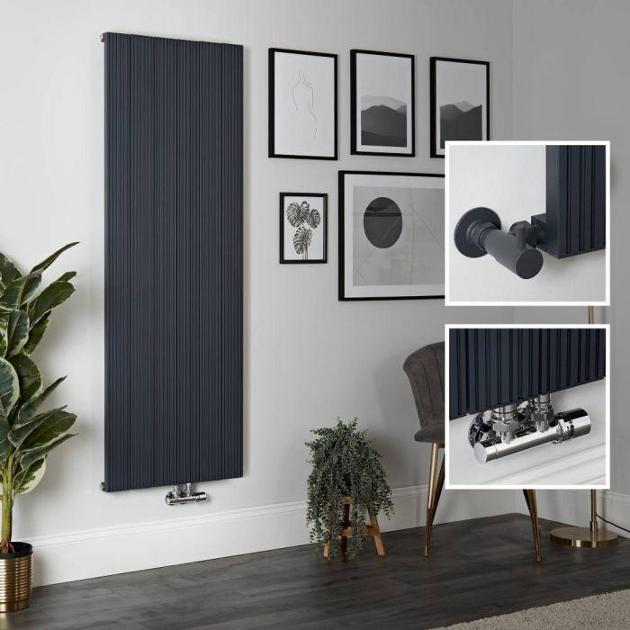 Radiador de Diseño Vertical en Aluminio de Color Antracita - 1600mm x 565mm - Lex