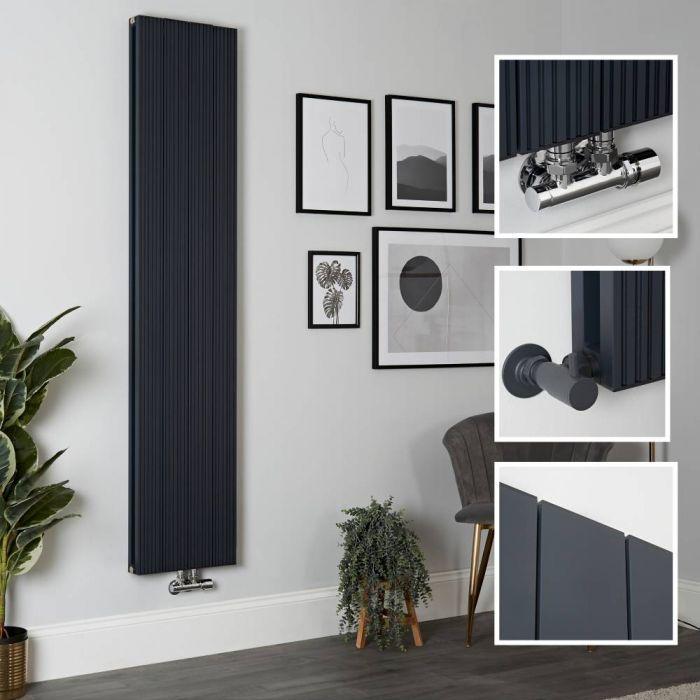 Radiador de Diseño Vertical en Aluminio de Color Antracita - 1800mm x 375mm (Panel Doble) - Lex