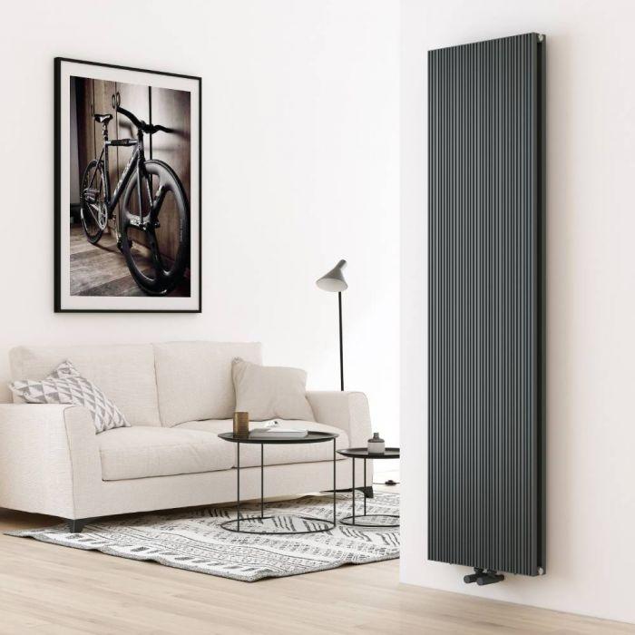 Radiador de Diseño Vertical en Aluminio de Color Antracita - 1800mm x 470mm (Panel Doble) - Lex