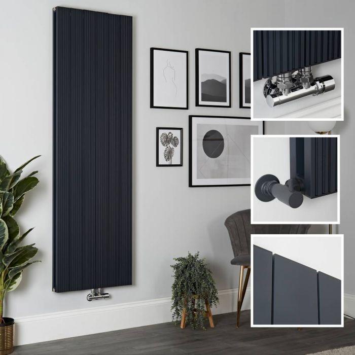 Radiador de Diseño Vertical en Aluminio de Color Antracita - 1800mm x 565mm (Panel Doble) - Lex