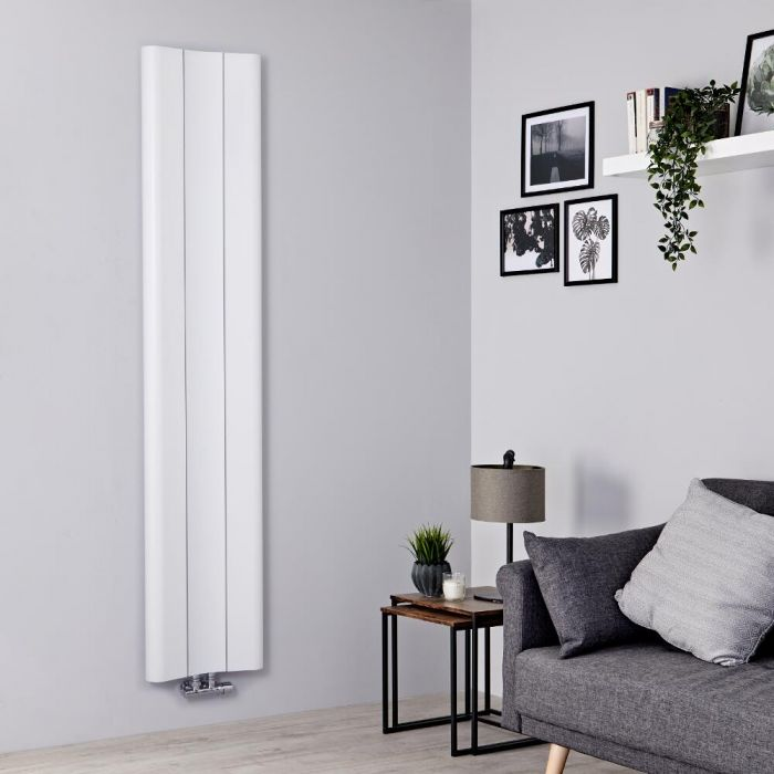 Radiador de Diseño Vertical - Aluminio - Blanco - 1800mm x 370mm - 978 Vatios - Aloa