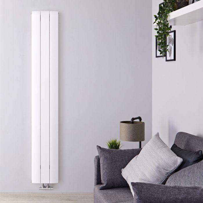 Radiador de Diseño Vertical Con Conexión Central - Aluminio - Blanco - 1600mm x 280mm x 46mm - 920 Vatios - Aurora