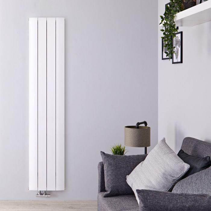 Radiador de Diseño Vertical Con Conexión Central - Aluminio - Blanco - 1800mm x 375mm x 45mm - 1384 Vatios - Aurora