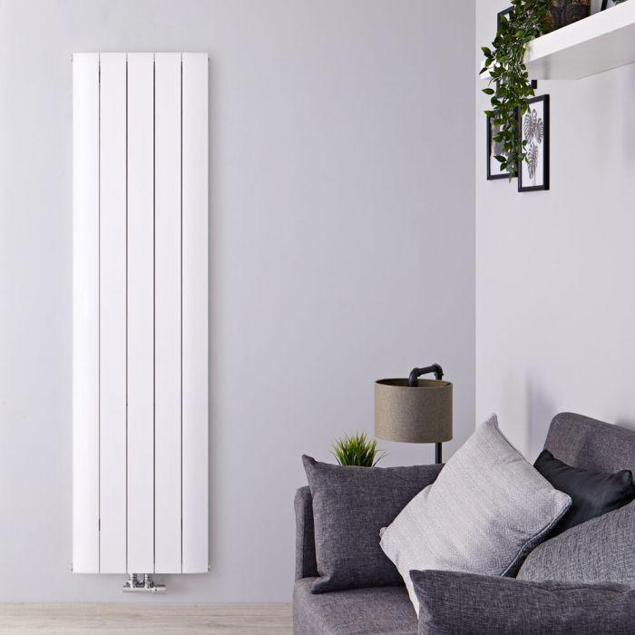 Radiador de Diseño Vertical Con Conexión Central - Aluminio - Blanco - 1800mm x 470mm x 46mm - 1729 Vatios - Aurora
