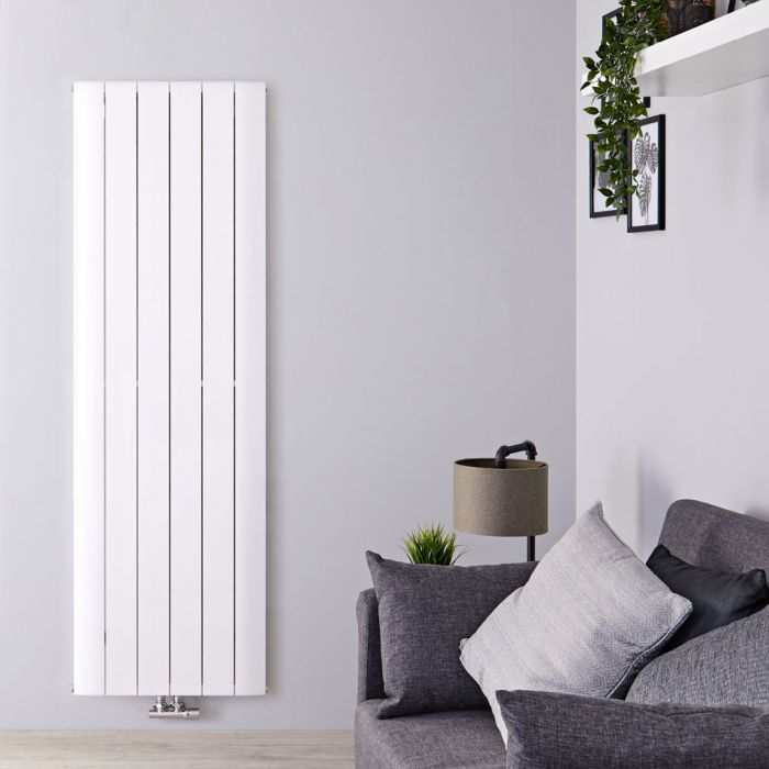 Radiador de Diseño Vertical Con Conexión Central - Aluminio - Blanco - 1800mm x 565mm x 46mm - 2075 Vatios - Aurora