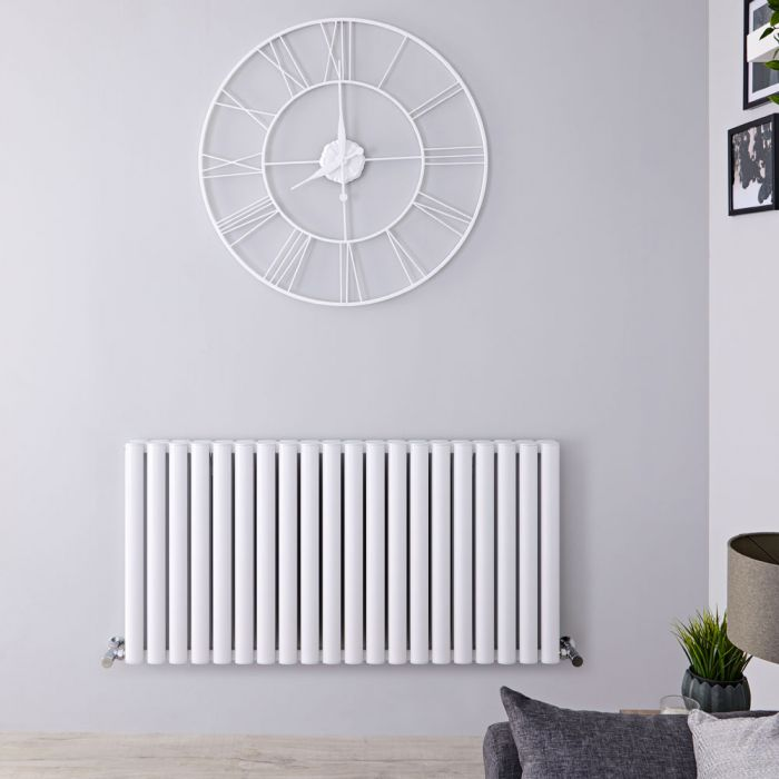 Radiador de Diseño Horizontal Doble - Blanco - 600mm x 1190mm x 76mm - 2298 Vatios - Revive Air