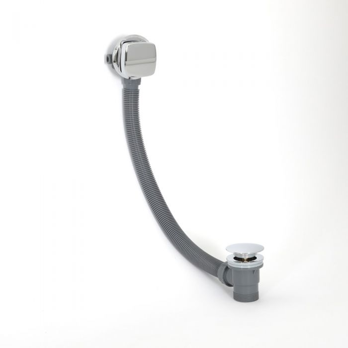 Llenador de Bañera Moderno para Rebosadero con Válvula de Desagüe - Cromado - Kubix