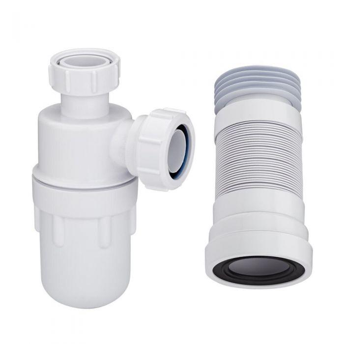 Conjunto con Sifón de Botella para Lavabos con Pedestal y Manguito Conector para Inodoros Monobloque - McAlpine