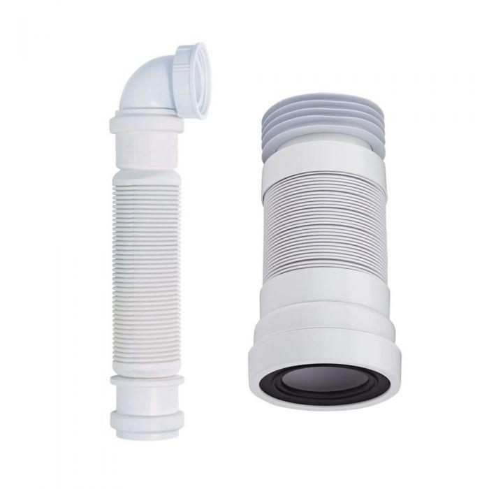 Conjunto con Sifón de Botella para Mueble de Lavabo y Manguito Conector para WC Adosado - McAlpine