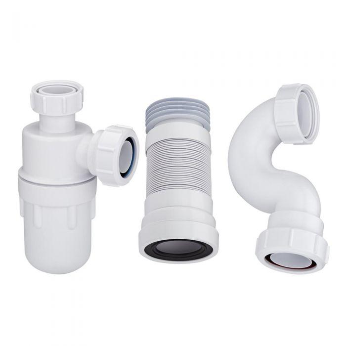 Conjunto con Sifón de Botella para Lavabo con Pedestal, Sifón para Bañera Estándar y Manguito Conector para WC Adosado - McAlpine