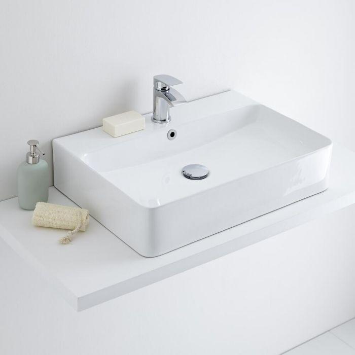 Lavabo Sobre Encimera Rectangular de Cerámica 600x420mm - Exton