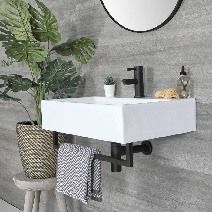 Lavabo Moderno Rectangular Suspendido Sandford de Color Blanco con Barra Porta Toallas - Disponible en Distintas Medidas y con Distintos Acabados