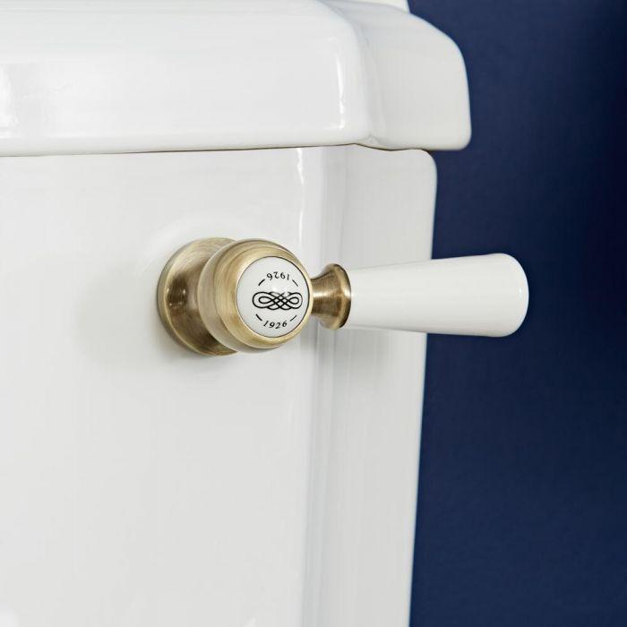Palanca de Descarga de WC Realizada de Cerámica con Acabado Oro Cepillado - Elizabeth