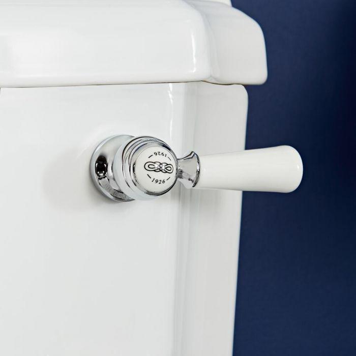 Palanca de Descarga de WC Realizada de Cerámica con Acabado Cromado y Blanco - Elizabeth