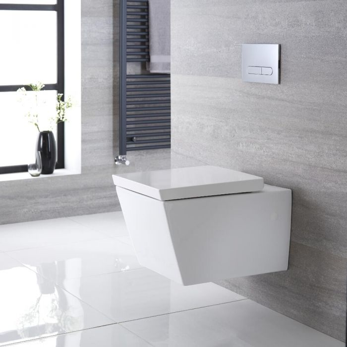Inodoro WC Cuadrado Moderno Suspendido 310x360x560mm y Tapa con Cierre Amortiguado  - Halwell