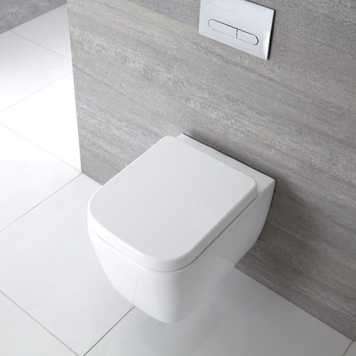 Inodoro WC Cuadrado Moderno Suspendido 300x350x510mm Tapa de WC Soft Close - Milton