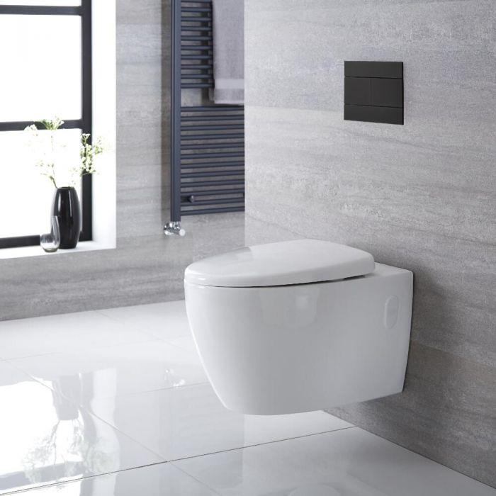 Inodoro WC Oval Moderno Suspendido sin Brida 340x380x570mm con Tapa de WC con Cierre Amortiguado - Kenton