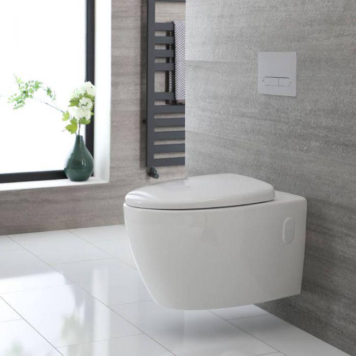 Inodoro WC Oval Moderno Suspendido sin Brida 340x380x570mm con Tapa de WC con Cierre Amortiguado – Kenton
