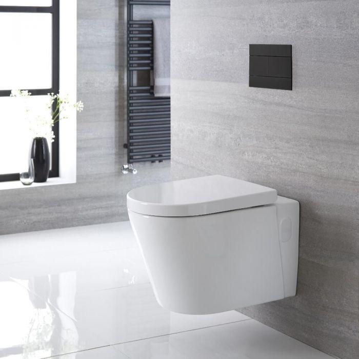 Inodoro WC Oval Suspendido 340x350x560mm con Tapa de WC Soft Close - Exton