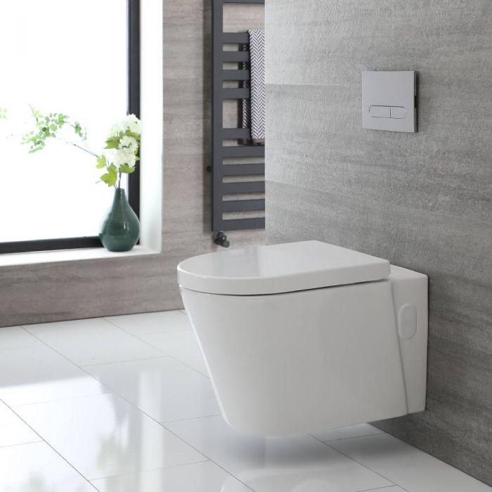 Inodoro WC Oval Suspendido 340x350x560mm y Tapa con Cierre Amortiguado  – Exton