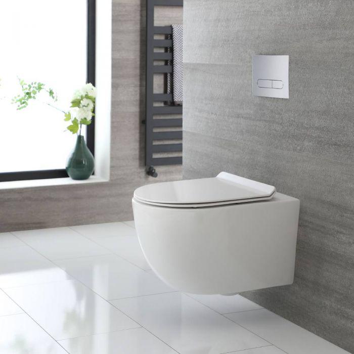 Inodoro Suspendido Redondo con Diseño sin Brida Completo con Tapa para WC con Cierre Amortiguado – Otterton