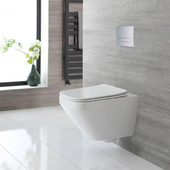 Inodoro Suspendido Cuadrado con Diseño sin Brida Completo con Tapa para WC con Cierre Amortiguado - Exton