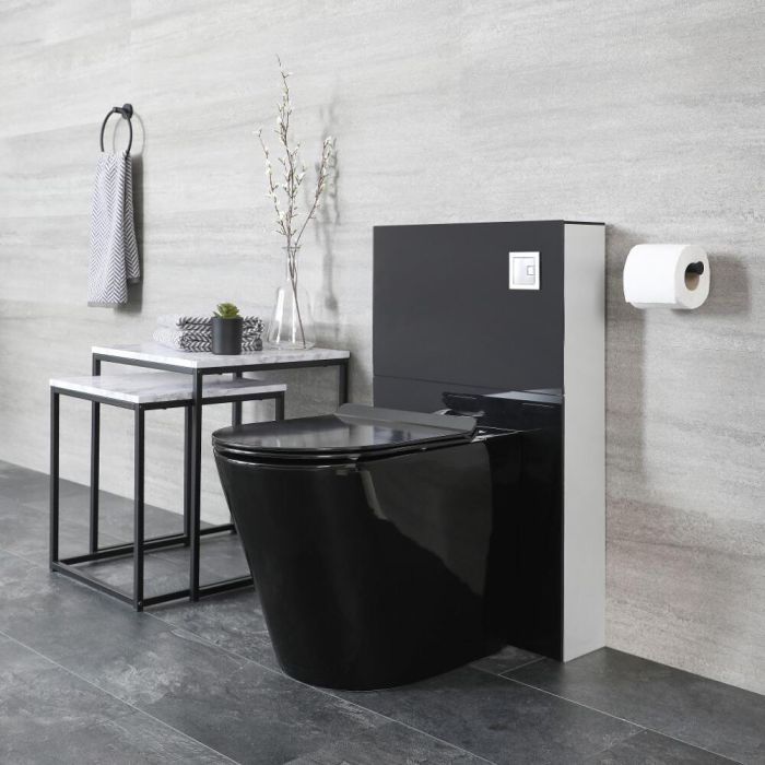 Mueble de WC de 500mm Moderno Negro con Inodoro Adosado - Nox