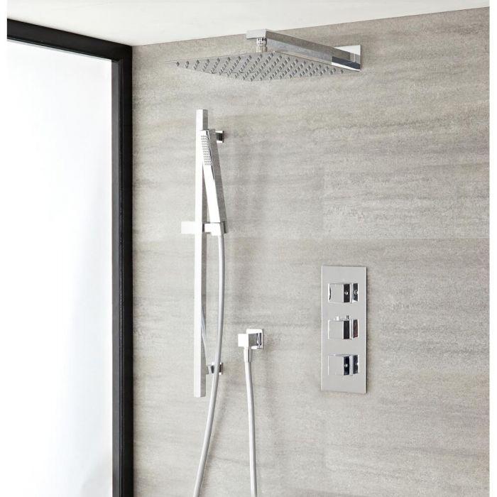 Conjunto de ducha Termostática con Alcachofa, Ducha de Mano, Barra, Brazo y Codo - Kubix