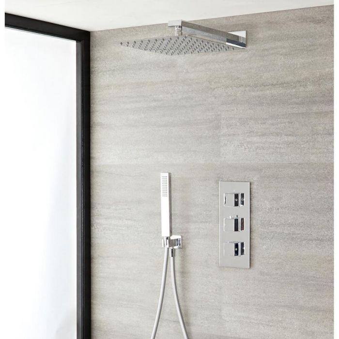 Conjunto de ducha con Llave Mezcladora Termostática y Alcachofa Extraplana - Kubix