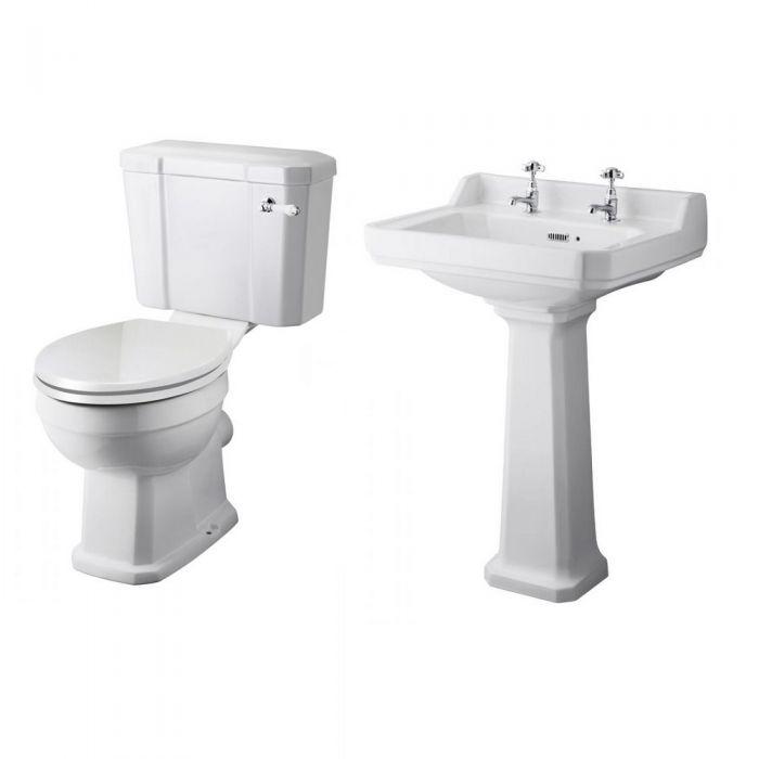 Conjunto de Baño Completo con Inodoro WC con Tapa Cisterna y Lavabo Tradicional - Lewiston