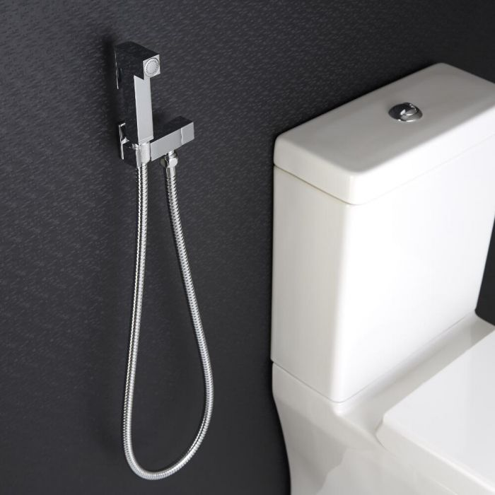 Kit de Ducha Higiénica Mural  para WC  de 1 Salida con Telefonillo de Ducha, Soporte Mural y Flexo - Kubix